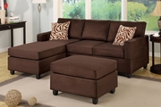 Rae Chocolate Microfiber Sectional Sofa With Ottoman
