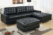 Randi Black Leather Sectional Sofa