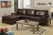 Randi Espresso Leather Sectional Sofa