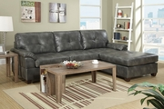 Randi Grey Leather Sectional Sofa