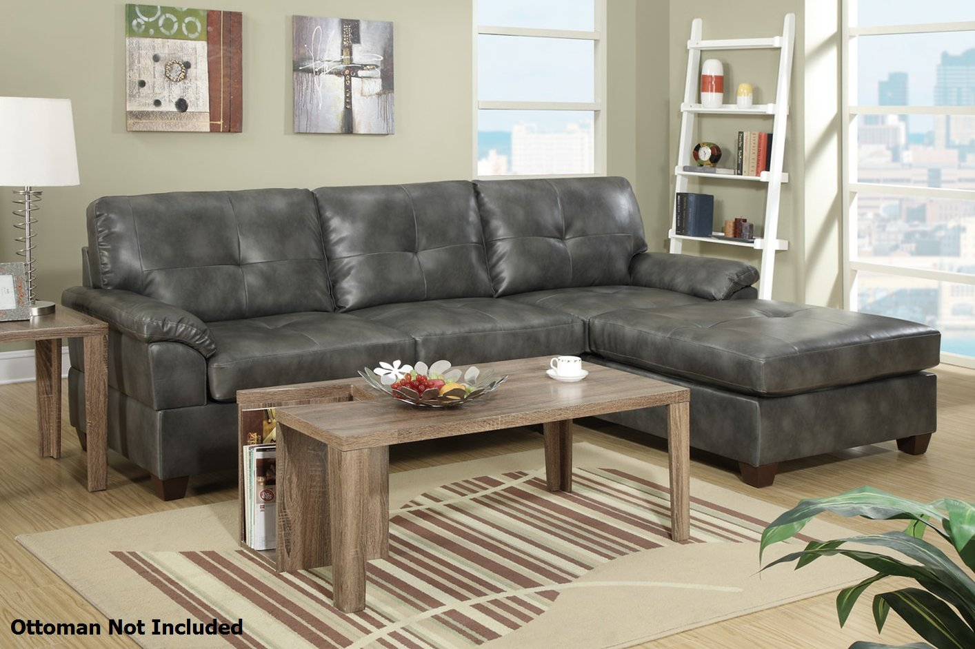 Poundex Randi F7408 Grey Leather Sectional Sofa Steal A
