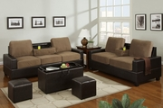 Rashad Saddle Microfiber Sofa And Loveseat Set