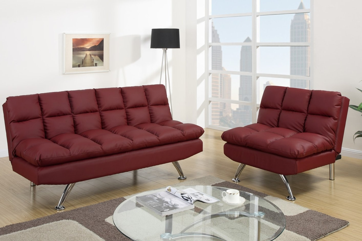 Poundex F7017 Red Twin Size Leather Sofa Bed Steal A