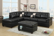 Reese Black Leather Sectional Sofa