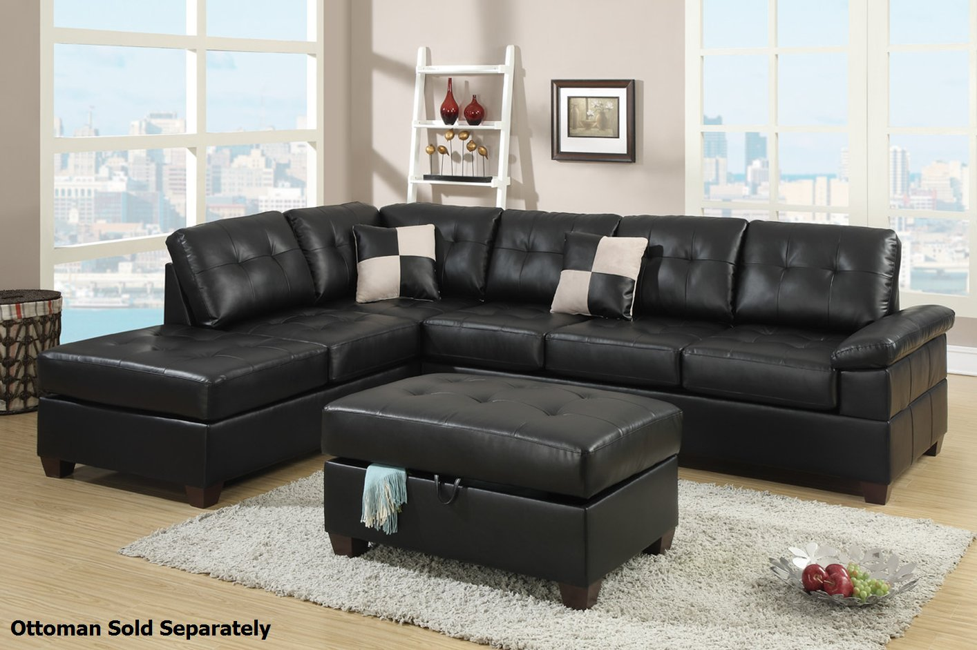 Poundex Reese F7519 Black Leather Sectional Sofa Steal A