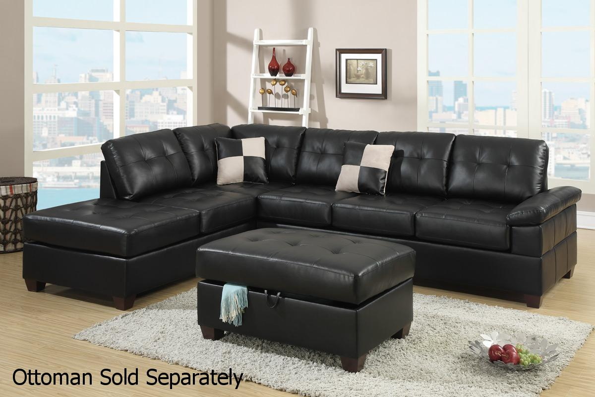 Poundex Reese F7519 Black Leather Sectional Sofa Steal A Sofa Furniture Out