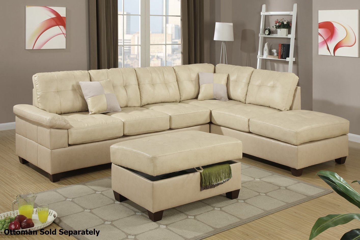 Poundex Reese F7520 Beige Leather Sectional Sofa Steal A