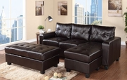 Rocco Espresso Bonded Leather Sectional with Ottoman