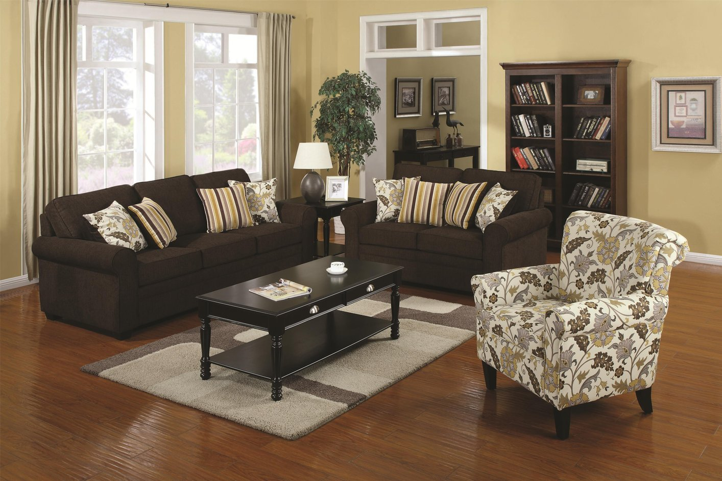 Coaster Rosalie 902082 Brown Fabric Accent Chair Steal A