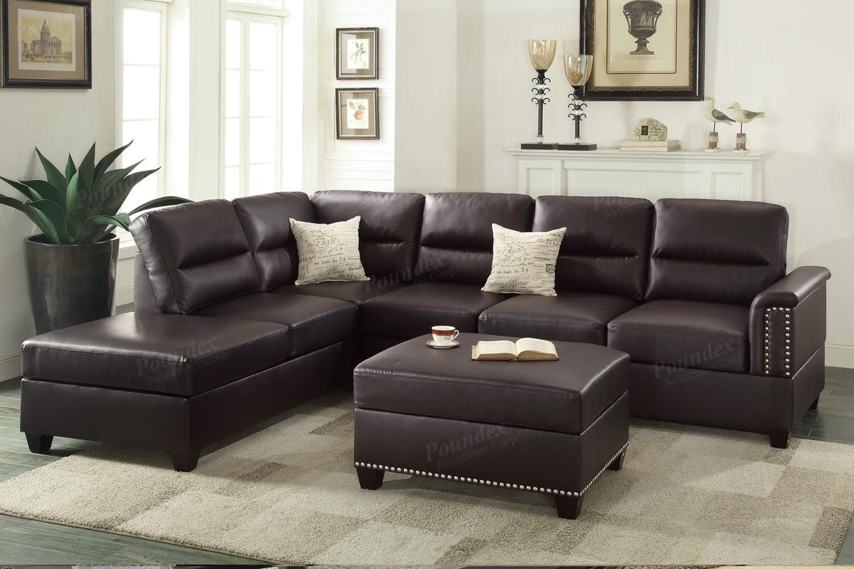 Poundex Rousey F7609 Brown Leather Sectional Sofa Steal A Sofa Furniture Outlet Los Angeles Ca