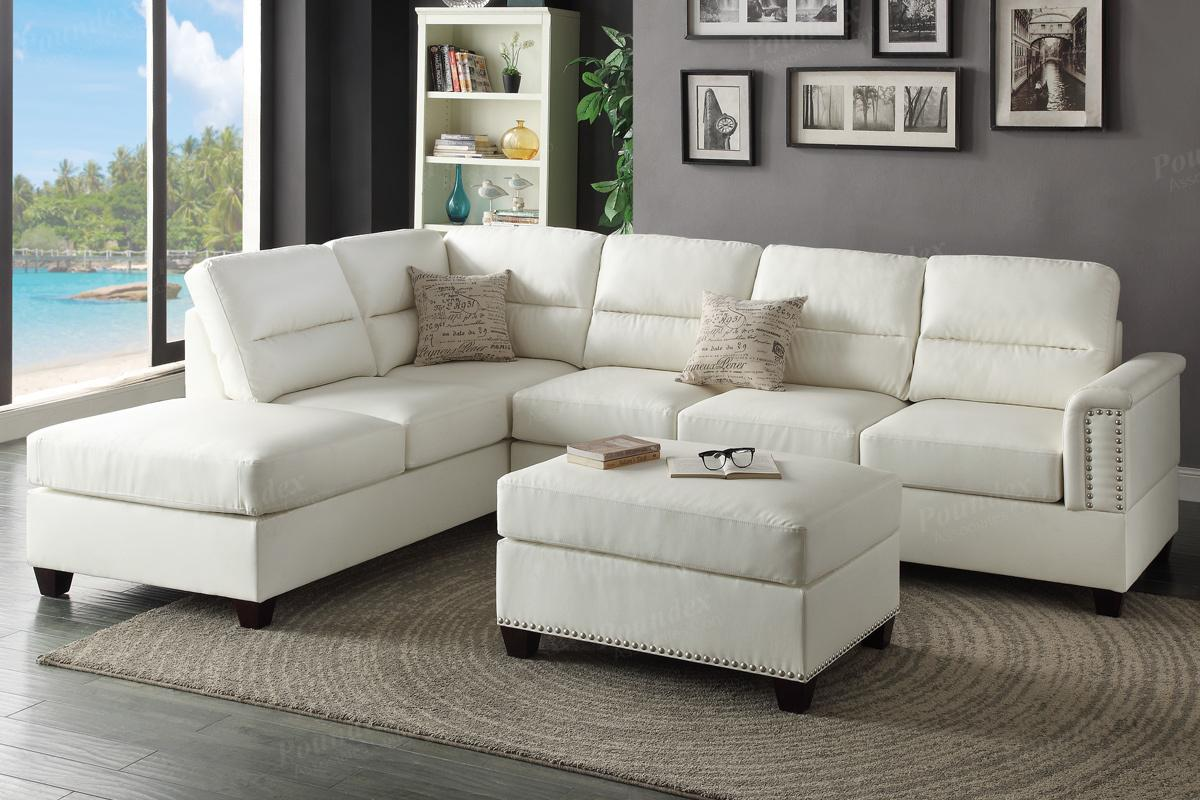 Poundex Rousey F7610 White Leather Sectional Sofa And