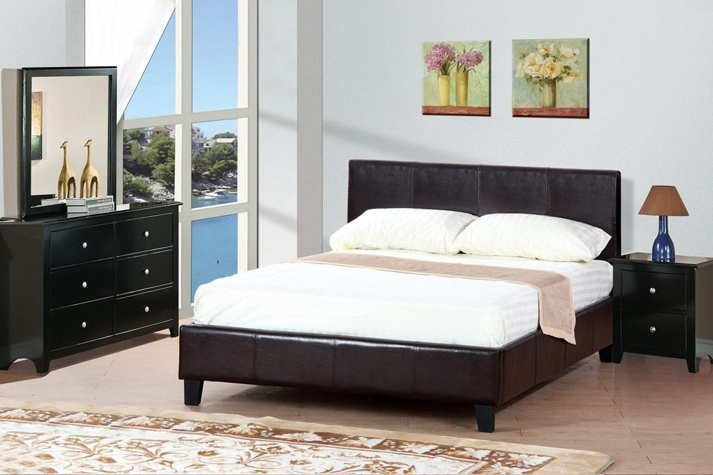 Poundex F9211 Brown Queen Size Leather Bed Steal A Sofa