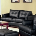 Samuel Black Leather Loveseat