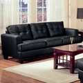 Samuel Black Leather Sofa