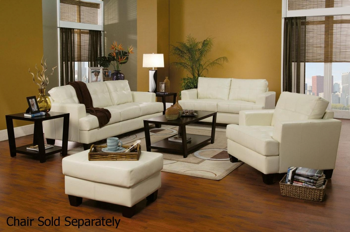 White Leather Living Room Chair Coaster Samuel 501691 501692 White Leather Sofa And Loveseat Set