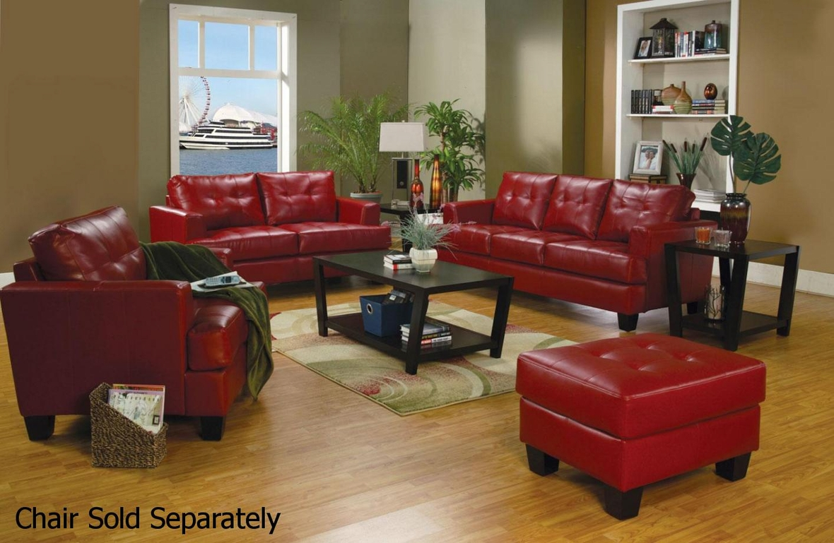 Living Room Sofa And Loveseat Sets Coaster Samuel 501831 501832 Red Leather Sofa And Loveseat Set