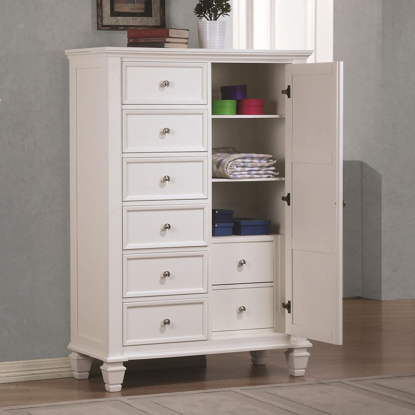 Coaster 201308 White Wood Chest Of Drawers