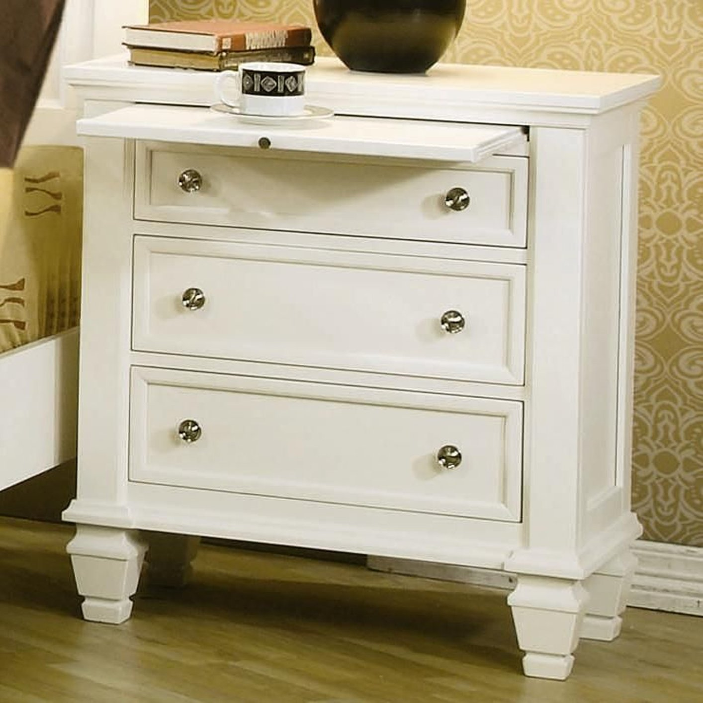 Coaster 201302 White Wood Nightstand Steal A Sofa Furniture