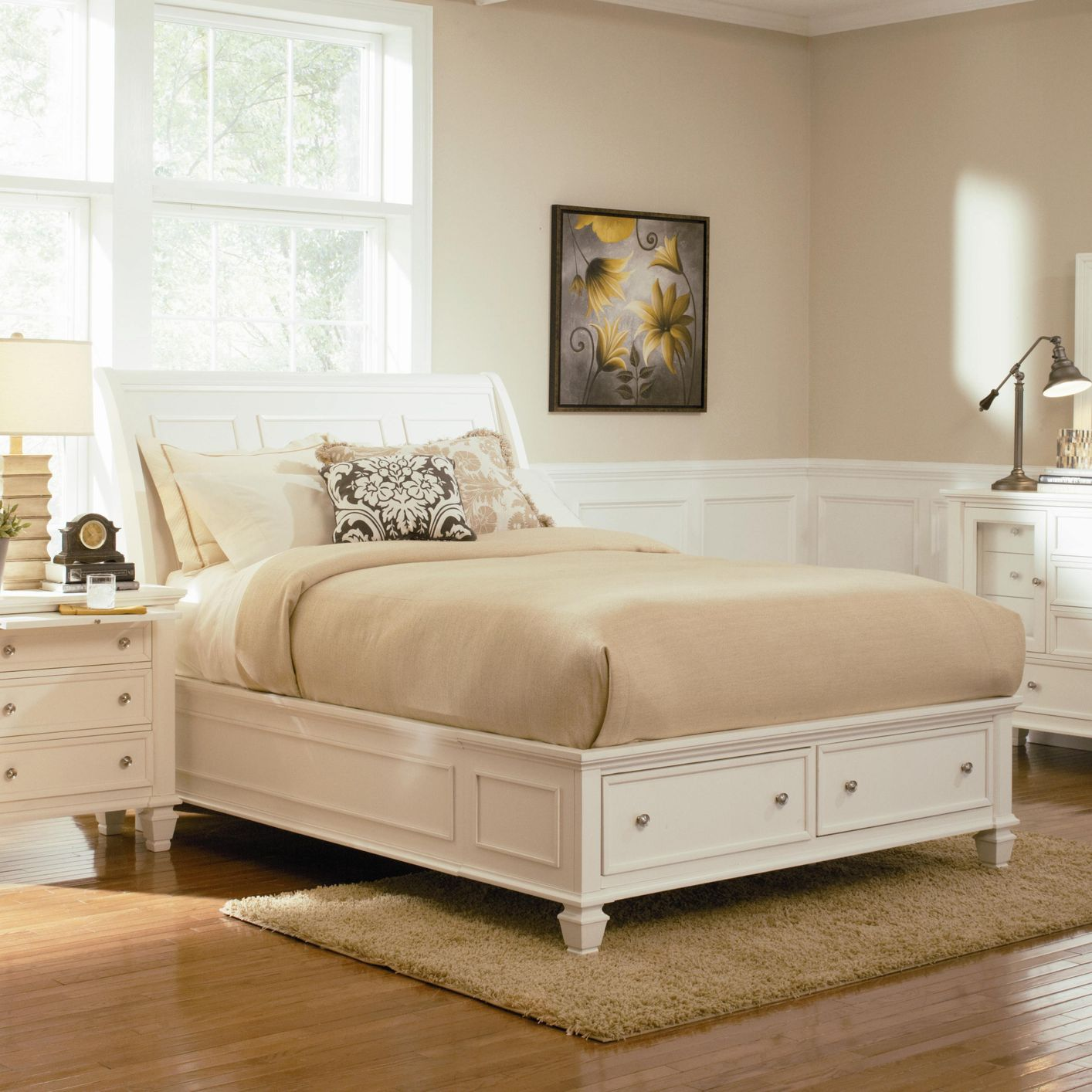 Outlet Bedroom Furniture Coaster 201309q White Wood Queen Size Bed Steal A Sofa Furniture