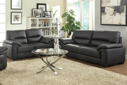 Satin Black Sofa and Loveseat Set