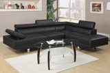 Jezebel Black Leather Sectional Sofa