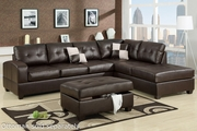 Reese Espresso Leather Sectional Sofa
