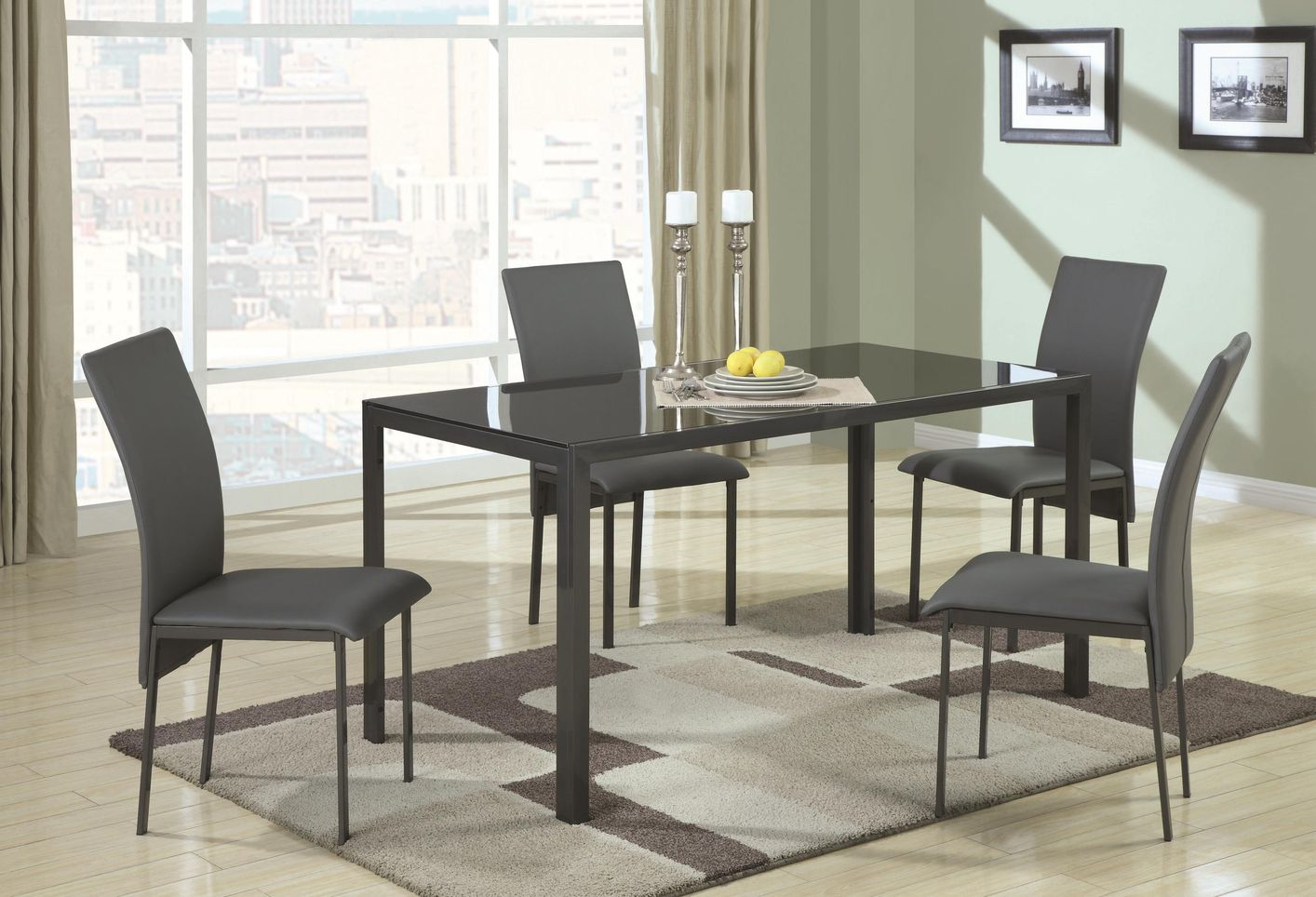 Coaster Shelby 103741 103742 Black Metal And Glass Dining Table Set In Los An