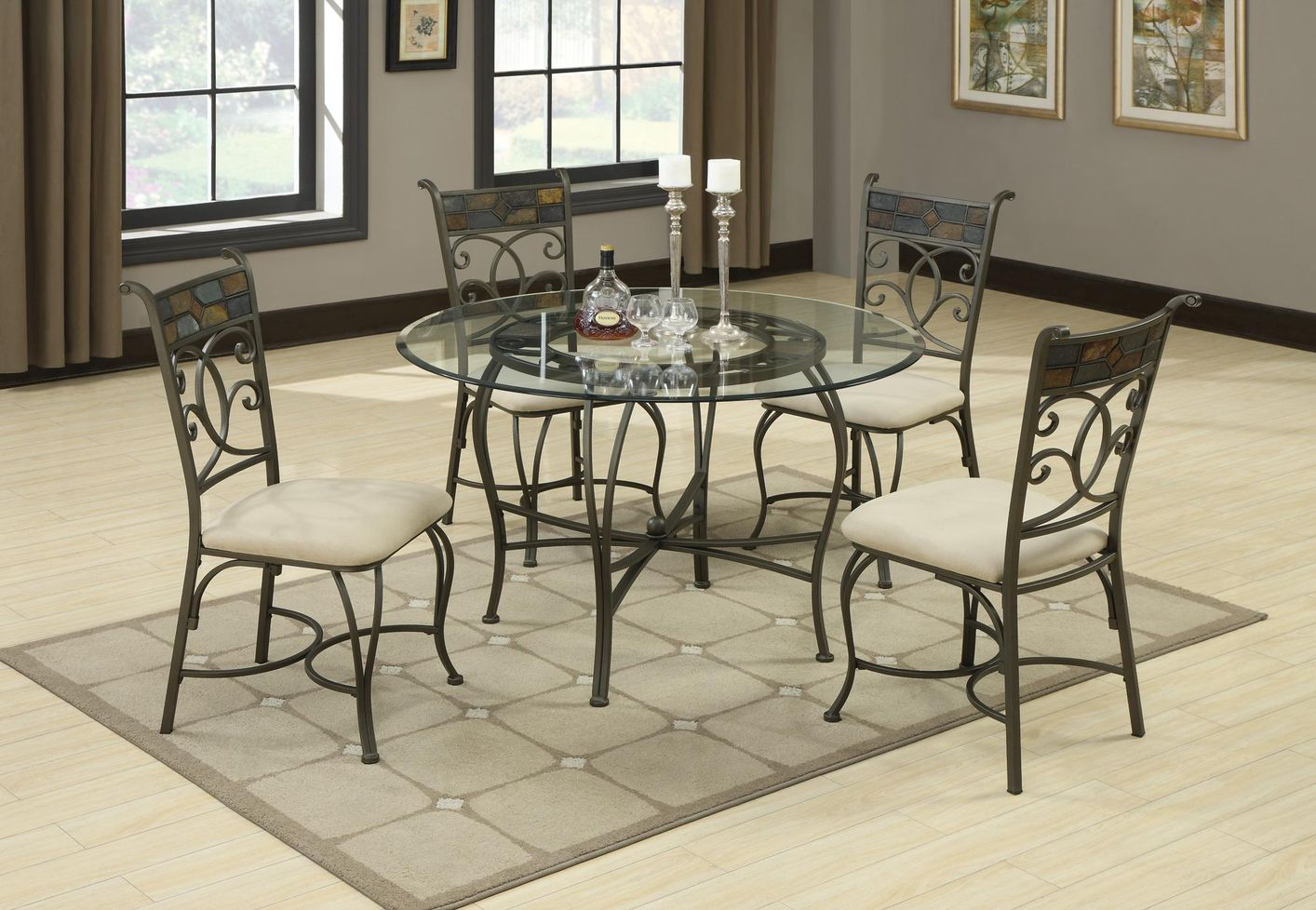 Metal Glass Dining Table Coaster Sheridan 120831 120832 Cb45rd Grey Metal And Glass Dining