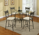 Sheridan Grey Metal And Glass Pub Table Set