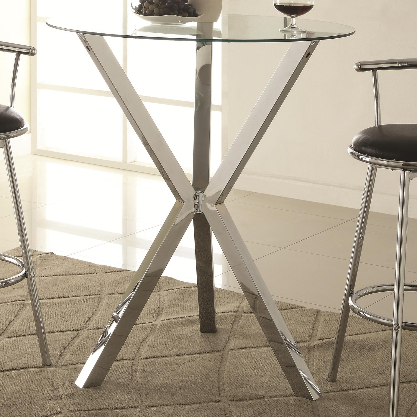 Coaster 100186 Silver Glass Bar Table - Steal-A-Sofa Furniture Outlet ...