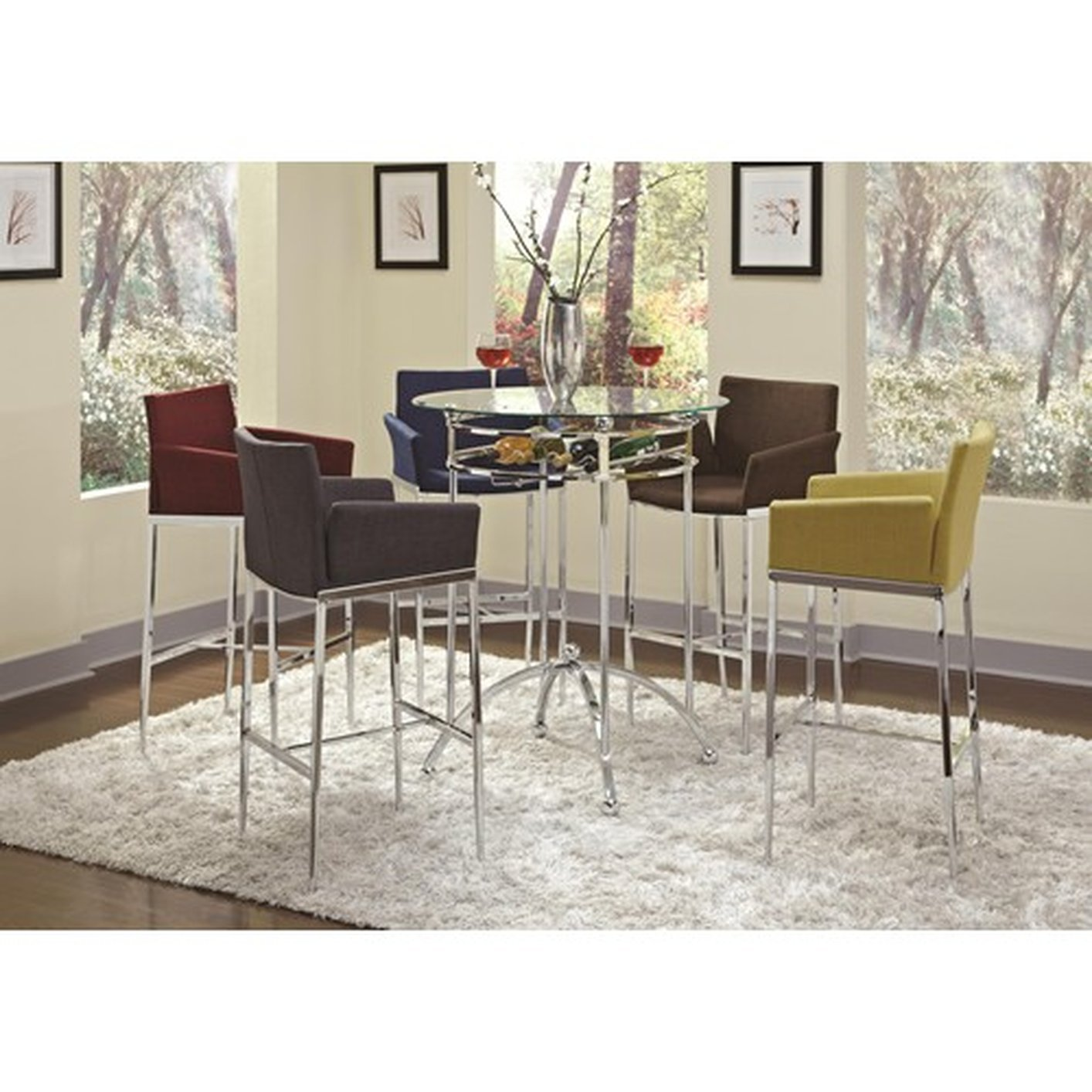 coaster 120335 silver glass bar table steal a sofa furniture - Kitchen Bar Table Set