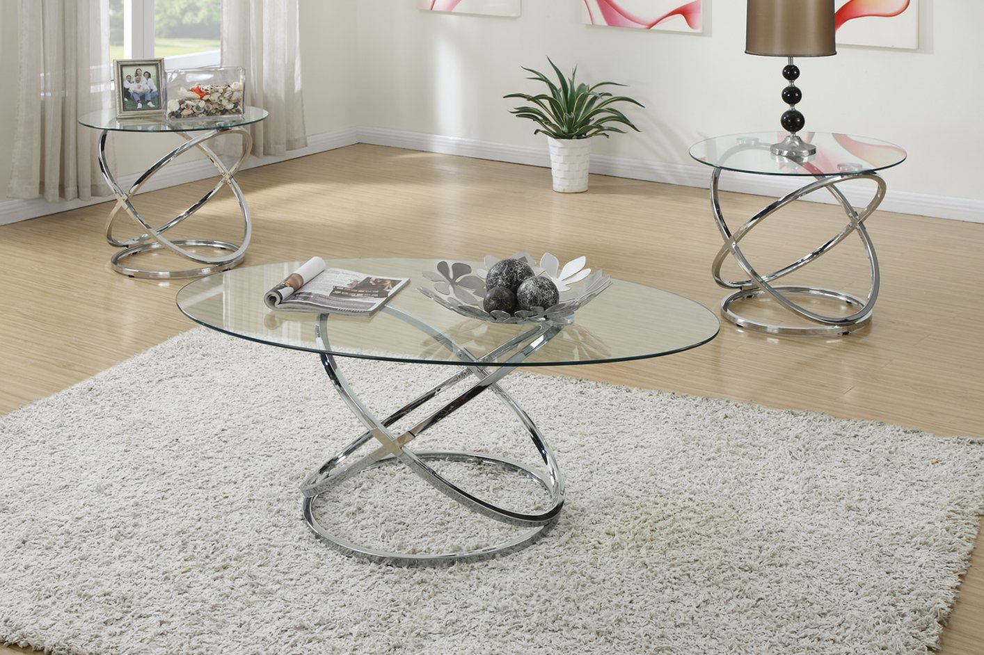 Glass Coffee Table Set: Poundex F3087 Silver Glass Coffee Table Set