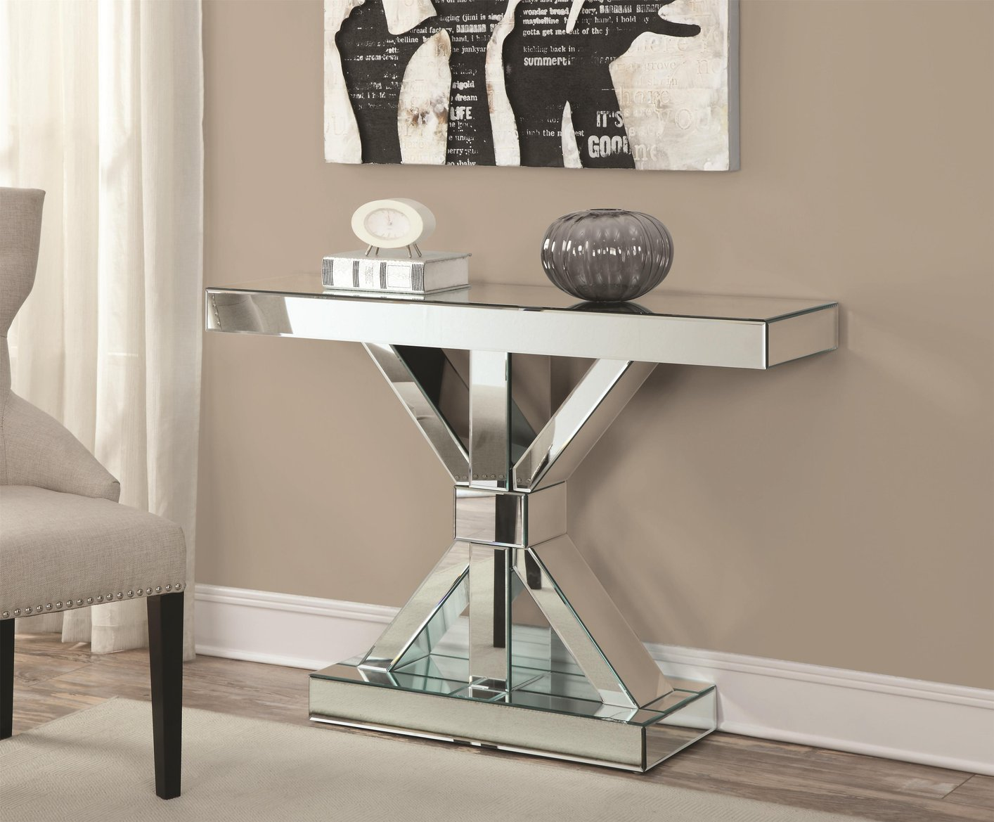 Coaster 950191 Silver Glass Console Table Steal A Sofa