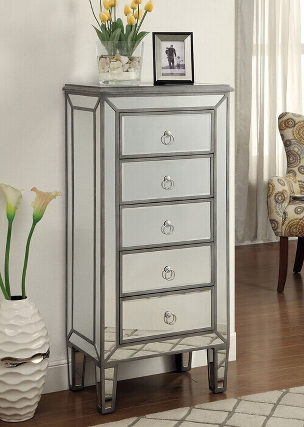 Coaster 950046 Silver Glass Jewelry Armoire - Steal-A-Sofa ...