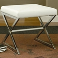Silver Leather Stool