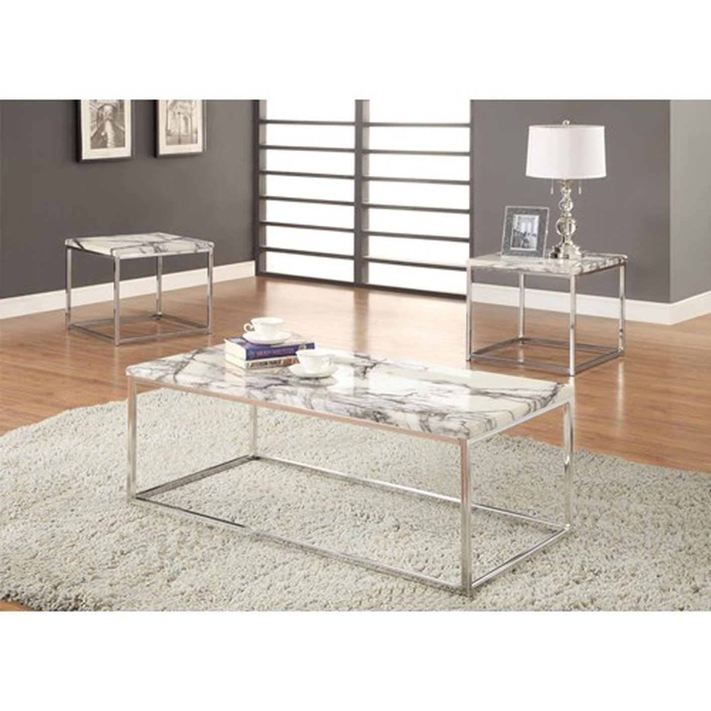 Coaster 701626 Silver Marble Coffee Table Set