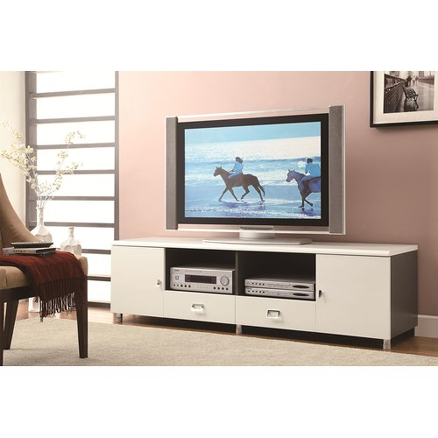 Coaster 700910 Silver Metal TV Stand