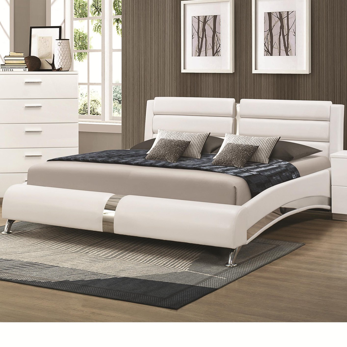 coaster 300345kw silver california king size wood bed