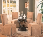 Slauson Beige Metal And Glass Dining Table Set