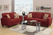 Hazel Red Fabric Sofa and Loveseat Set