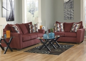 Brogain Burgandy Sofa and Loveseat Set