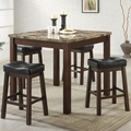 Sophia Dark Cherry Wood And Marble Pub Table Set