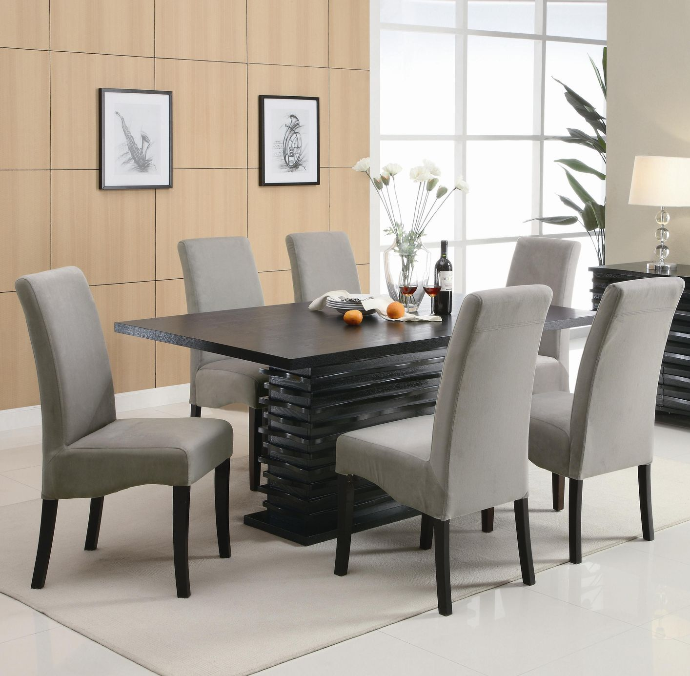 Dining Room Table Sets: Coaster Stanton 102061 102062 Black Wood Dining Table Set