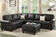 Suver Black Leather Sectional Sofa
