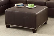 Suver Brown Leather Ottoman