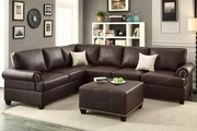 Suver Brown Leather Sectional Sofa