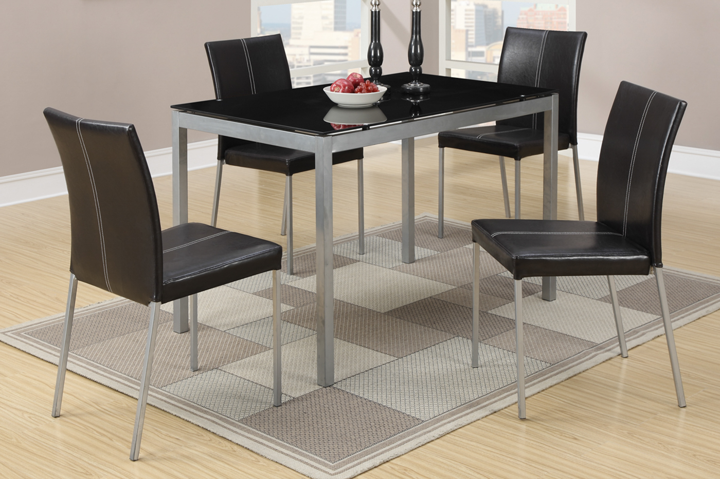Metal Glass Dining Table Poundex F2363 Silver Metal Dining Table And Chair Set Steal A