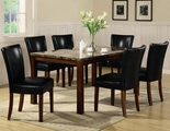Telegraph Rich Cherry Wood And Marble Dining Table Set