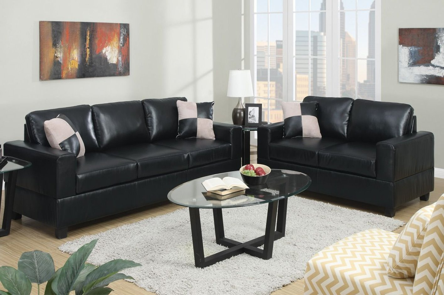 Poundex Tesse F7598 Black Leather Sofa And Loveseat Set
