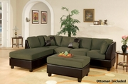 Katja Green Fabric Sectional Sofa and Ottoman